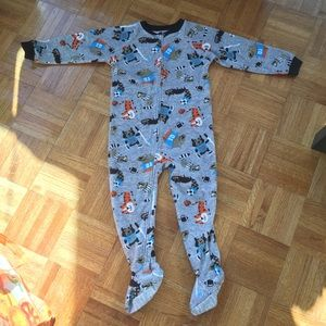 Carters velvet 4T one piece footies animal theme